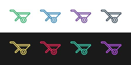 Set line Wheelbarrow icon isolated on black and white background. Tool equipment. Agriculture cart wheel farm. Vector.