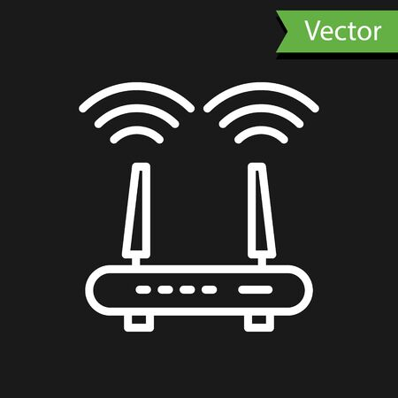 White line Router and wifi signal icon isolated on black background. Wireless modem router. Computer technology internet. Vector.  イラスト・ベクター素材