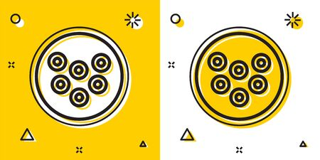 Black Caviar on a plate icon isolated on yellow and white background. Random dynamic shapes. Vector..