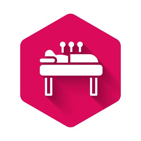 White Acupuncture therapy icon isolated with long shadow. Chinese medicine. Holistic pain management treatments. Pink hexagon button. Vector