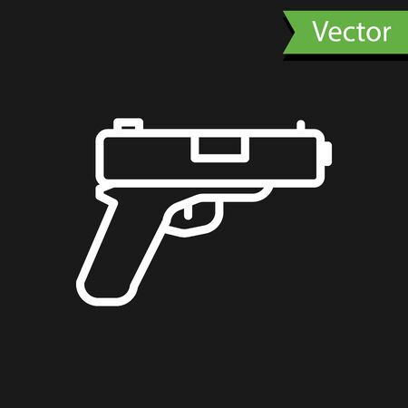 White line Pistol or gun icon isolated on black background. Police or military handgun. Small firearm. Vector 向量圖像
