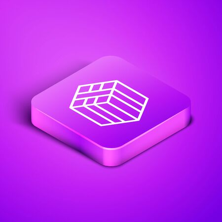 Isometric line Bale of hay icon isolated on purple background. Purple square button. Vector