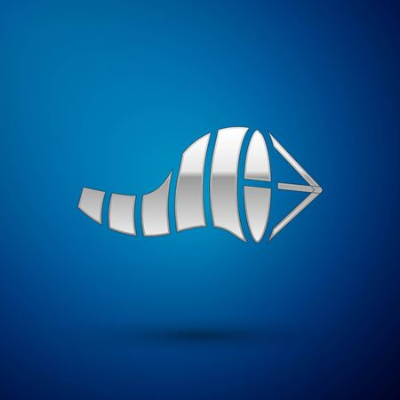 Silver Cone meteorology windsock wind vane icon isolated on blue background. Windsock indicate the direction and strength of the wind.  Vector Illustration.