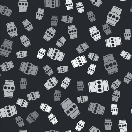 Grey Mobile and password protection icon isolated seamless pattern on black background. Security, safety, personal access, user authorization, privacy. Vector Illustration.