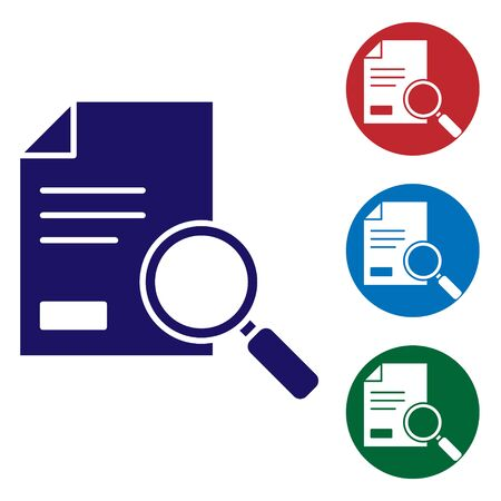 Blue Document with search icon isolated on white background. File and magnifying glass icon. Analytics research sign. Set icons in color square buttons. Vector Illustration.
