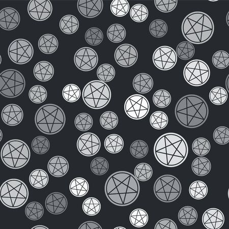 Grey Pentagram in a circle icon isolated seamless pattern on black background. Magic occult star symbol. Vector Illustration