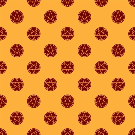 Red Pentagram in a circle icon isolated seamless pattern on brown background. Magic occult star symbol. Vector Illustration Illustration