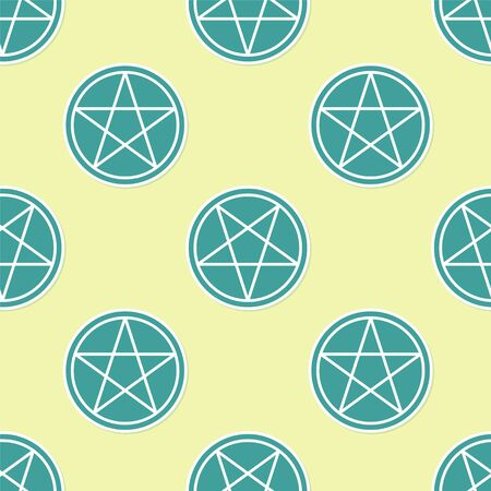 Green Pentagram in a circle icon isolated seamless pattern on yellow background. Magic occult star symbol. Vector Illustration