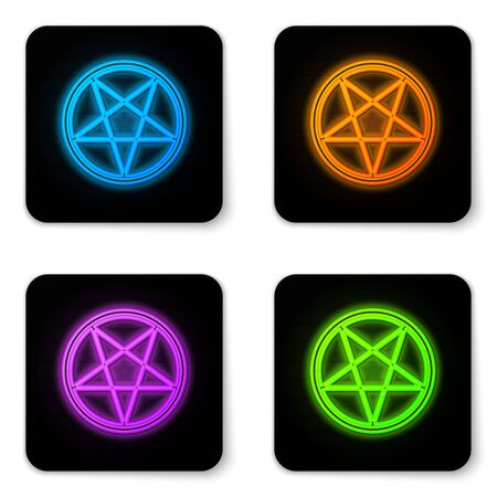 Glowing neon Pentagram in a circle icon isolated on white background. Magic occult star symbol. Black square button. Vector Illustration