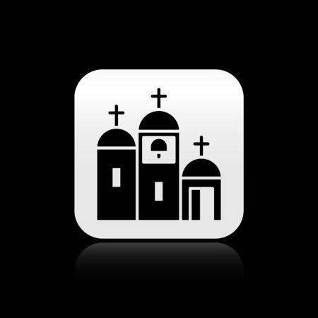 Black Church building icon isolated on black background. Christian Church. Religion of church. Silver square button. Vector Illustration