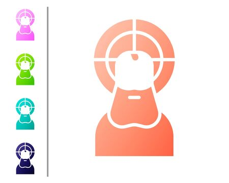 Coral Jesus Christ icon isolated on white background. Set color icons. Vector Illustration Illustration