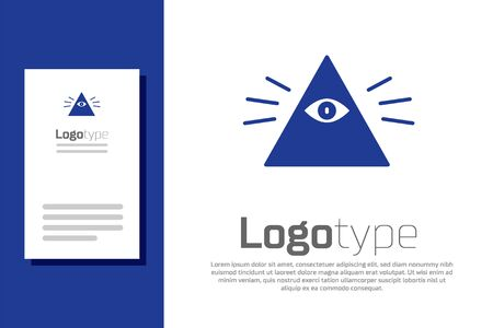 Blue Masons symbol All-seeing eye of God icon isolated on white background. The eye of Providence in the triangle. Logo design template element. Vector Illustration Illustration