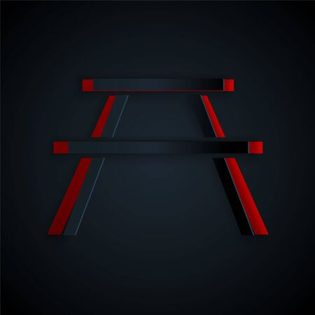 Paper cut Picnic table with benches on either side of the table icon isolated on black background. Paper art style. Vector Illustration.