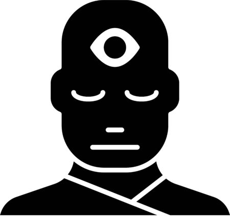 Black Man with third eye icon isolated on white background. The concept of meditation, vision of energy, aura. Vector Illustration Illustration