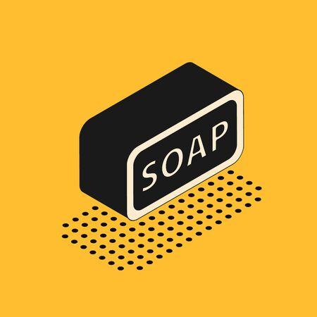 Isometric Bar of soap icon isolated on yellow background. Soap bar with bubbles. Vector Illustration