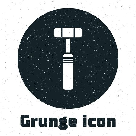 Grunge Neurology reflex hammer icon isolated on white background. Monochrome vintage drawing. Vector Illustration