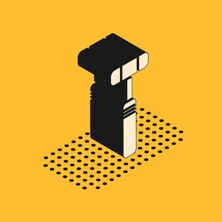 Isometric Neurology reflex hammer icon isolated on yellow background. Vector Illustration Ilustração