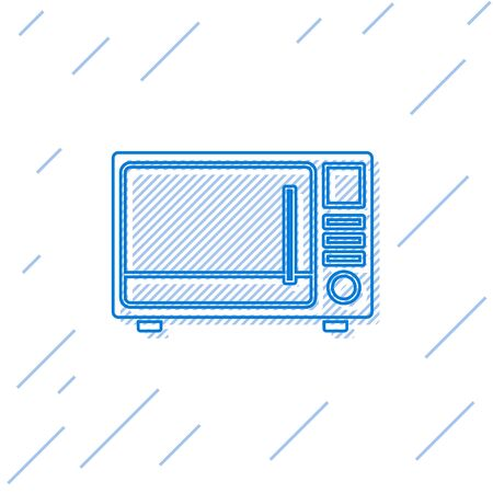 Blue line Microwave oven icon isolated on white background. Home appliances icon. Vector Illustration 向量圖像