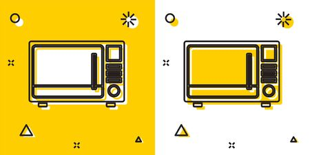 Black Microwave oven icon isolated on yellow and white background. Home appliances icon. Random dynamic shapes. Vector Illustration