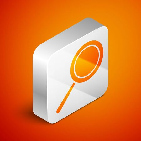 Isometric Frying pan icon isolated on orange background. Fry or roast food symbol. Silver square button. Vector Illustration