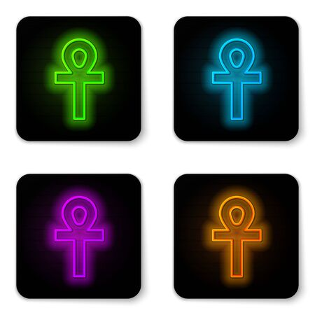 Glowing neon line Cross ankh icon isolated on white background. Black square button. Vector Illustration Illustration