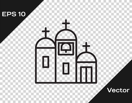 Black line Church building icon isolated on transparent background. Christian Church. Religion of church. Vector Illustration