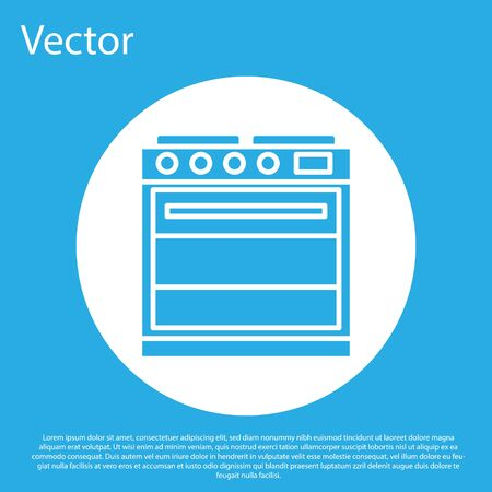 Blue Oven icon isolated on blue background. Stove gas oven sign. White circle button. Vector Illustration 向量圖像