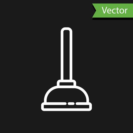 White line Rubber plunger with wooden handle for pipe cleaning icon isolated on black background. Toilet plunger. Vector Illustration