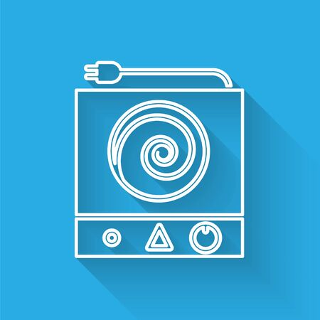 White line Electric stove icon isolated with long shadow. Cooktop sign. Hob with four circle burners. Vector Illustration 向量圖像