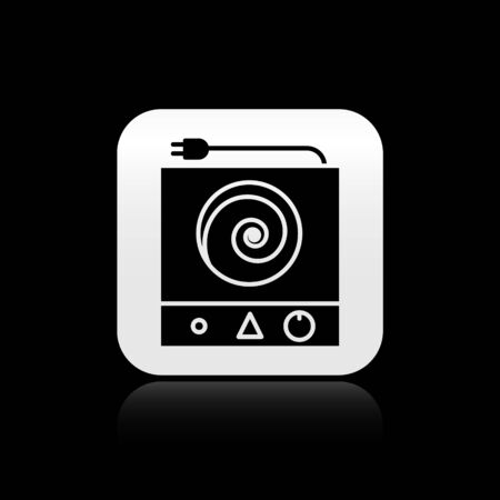 Black Electric stove icon isolated on black background. Cooktop sign. Hob with four circle burners. Silver square button. Vector Illustration
