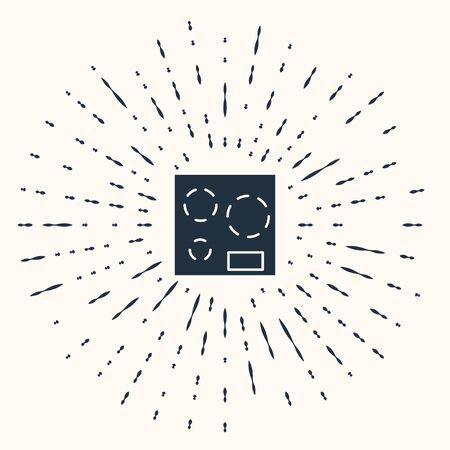 Grey Electric stove icon isolated on beige background. Cooktop sign. Hob with four circle burners. Abstract circle random dots. Vector Illustration