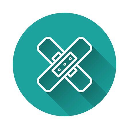White line Crossed bandage plaster icon isolated with long shadow. Medical plaster, adhesive bandage, flexible fabric bandage. Green circle button. Vector Illustration