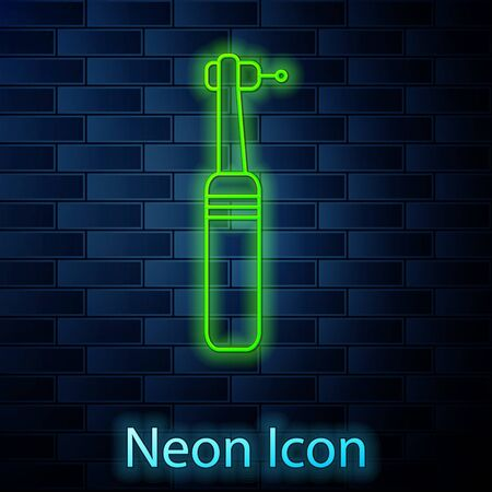 Glowing neon line Tooth drill icon isolated on brick wall background. Dental handpiece for drilling and grinding tools. Medical instrument. Vector Illustration. Vettoriali