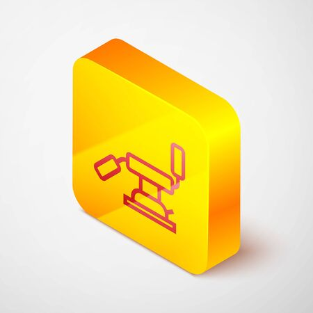 Isometric line Medical dental chair icon isolated on grey background. Dentist chair. Yellow square button. Vector Illustration