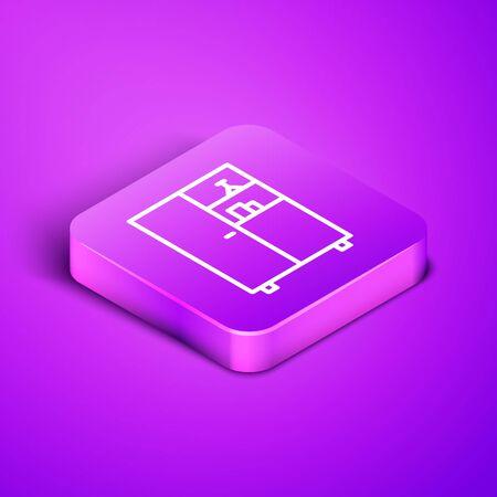 Isometric line Medicine cabinet icon isolated on purple background. Purple square button. Vector Illustration