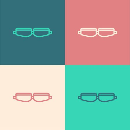 Pop art line Safety goggle glasses icon isolated on color background. Vector Illustration