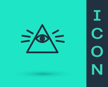 Black line Masons symbol All-seeing eye of God icon isolated on green background. The eye of Providence in the triangle. Vector Illustration