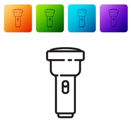 Black line Flashlight icon isolated on white background. Set icons in color square buttons. Vector Illustration Vectores
