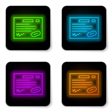 Glowing neon line Warranty certificate template icon isolated on white background. Black square button. Vector Illustration.