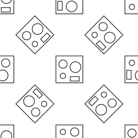 Grey line Electric stove icon isolated seamless pattern on white background. Cooktop sign. Hob with four circle burners. Vector Illustration 向量圖像