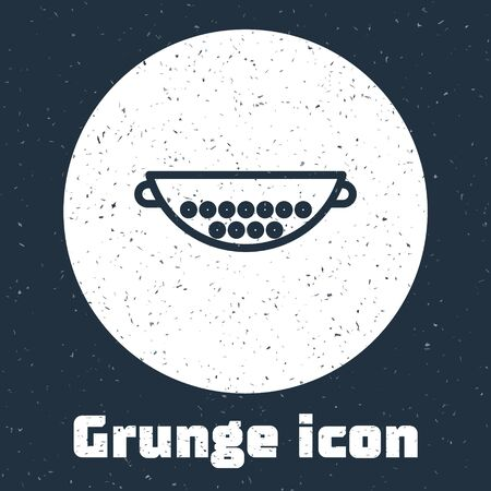 Grunge line Kitchen colander icon isolated on grey background. Cooking utensil. Cutlery sign. Monochrome vintage drawing. Vector Illustration Vettoriali