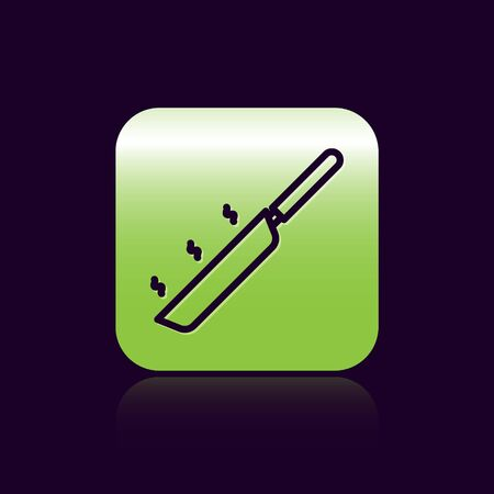Black line Frying pan icon isolated on black background. Fry or roast food symbol. Green square button. Vector Illustration 向量圖像