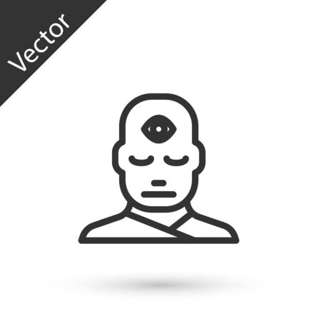 Grey line Man with third eye icon isolated on white background. The concept of meditation, vision of energy, aura. Vector Illustration. Illustration