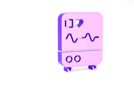 Purple Computer monitor with cardiogram icon isolated on white background. Monitoring icon. ECG monitor with heart beat hand drawn. Minimalism concept. 3d illustration 3D render