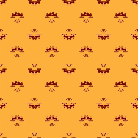Red Smart drone system icon isolated seamless pattern on brown background. Quadrocopter with video and photo camera symbol. Vector