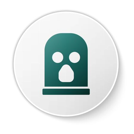 Green Balaclava icon isolated on white background. A piece of clothing for winter sports or a mask for a criminal or a thief. White circle button. Vector