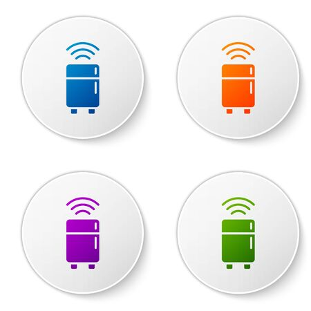 Color Smart refrigerator icon isolated on white background. Fridge freezer refrigerator. Internet of things concept with wireless connection. Set icons in circle buttons. Vector