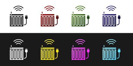 Set Smart heating radiator system icon isolated on black and white background. Internet of things concept with wireless connection. Vector