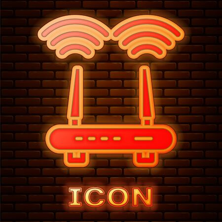 Glowing neon Router and wi-fi signal icon isolated on brick wall background. Wireless ethernet modem router. Computer technology internet. Vector  イラスト・ベクター素材