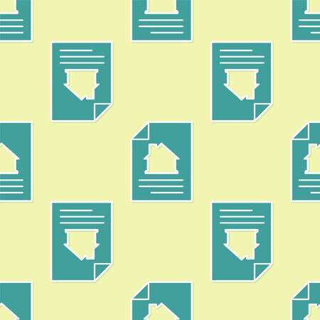 Green House contract icon isolated seamless pattern on yellow background. Contract creation service, document formation, application form composition. Vector